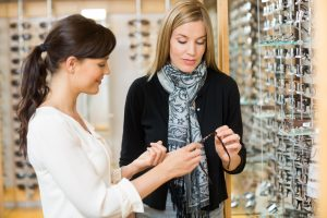 2 women shopping for glasses at 360 Eyecare - Metro