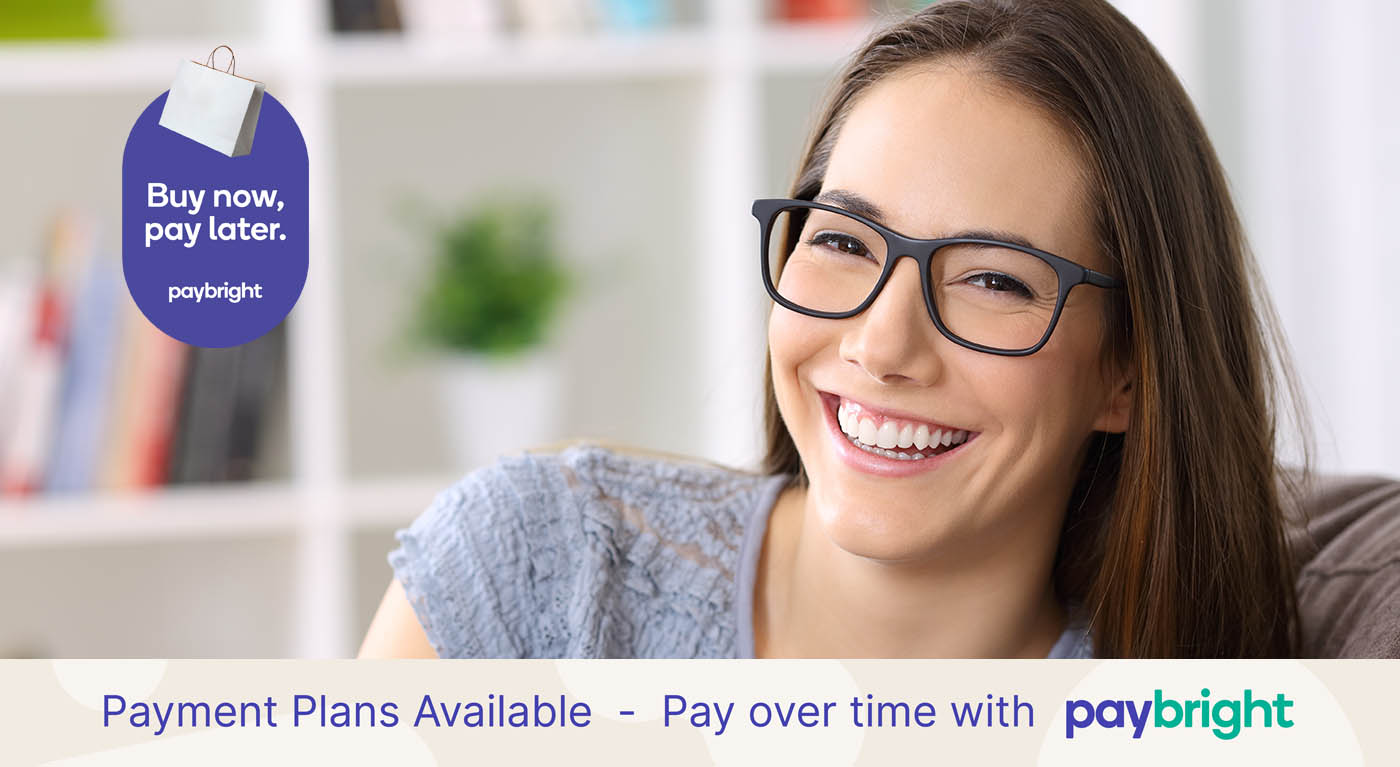 360 Eyecare - payment plans - paybright - woman wearing glasses smiling